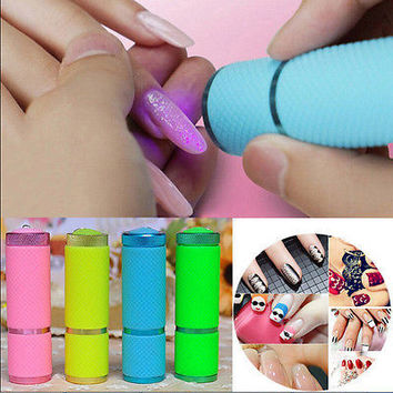 Portable Curing Lamp Flashlight Torch 9 LED Nail Dryer UV Gel Nail Polish