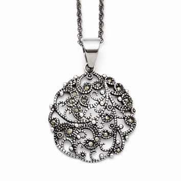 Stainless Marcasite Textured Circle Necklace