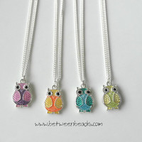 Owl Necklace, Blue Owl Pendant, Colorful Owl Jewelry Silver Plated Animal Nature Necklace Girls Gift Owl Birthday Gift Owl Neklace