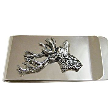 Side Facing Stag Deer Head Money Clip
