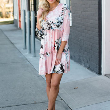 Movin' On Up Ruffle Floral Dress Pink CLEARANCE