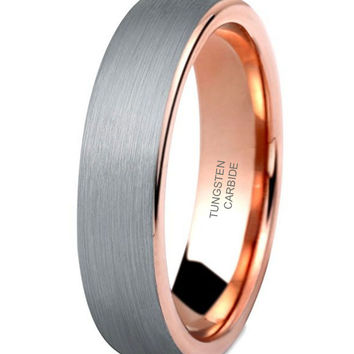 5mm Tungsten Rings Wedding Engagement Band Promise Brushed (Platinum 14k, 18k Rose Gold)