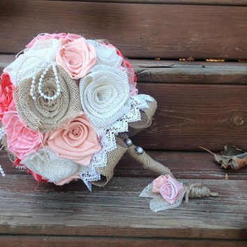 Burlap Bouquet, Peach Wedding, Wedding Burlap Bouquet, Burlap Bouquet, Rustic Burlap Bouquet, Burlap, Wedding, Bride, Groom, Boutonniere