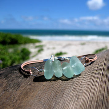 Hawaiian Aqua Blue Teal Seafoam Green Beach Glass Silver Plated Wire Wrapped & India Leather Cord Bracelet