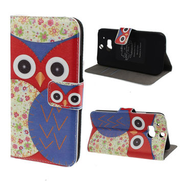 Flower Owl Pattern Leather Magnetic Wallet Cover Case For HTC One M8 INY66