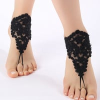 Free ship Black ivory white blue pink Barefoot Sandals, french lace, shoes, Gothic, Wedding, Victorian Lace, Sexy, barefoot sandals