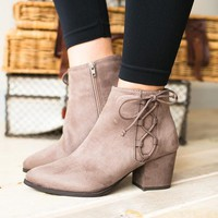 Caitlin Lace Up Taupe Bootie
