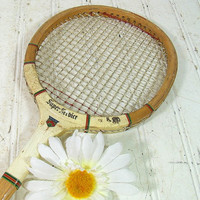 Retro Wooden Squash Racquet - Vintage Slazenger Super Service Sport Racket - Primitive Rustic ClubHouse Decor - Repurpose Gameroom Equipment