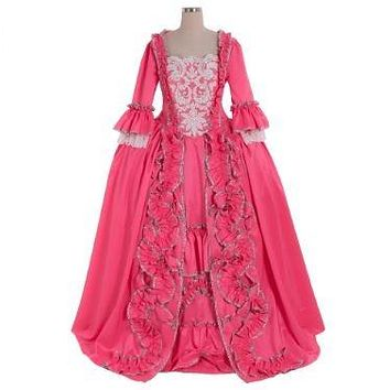 18TH Century Colonial Marie Antoinette Pink Ball Gown Dress Costume