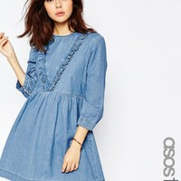 ASOS Tall | ASOS TALL Denim Smock Dress with Ruffle Detail in Mid Blue at ASOS