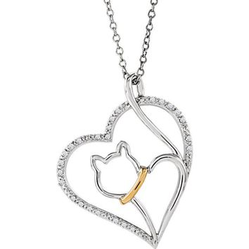 """ASPCA Tender Voices® Sterling Silver & 10kt Yellow Gold Diamond Cat Heart 18"""" Necklace"""