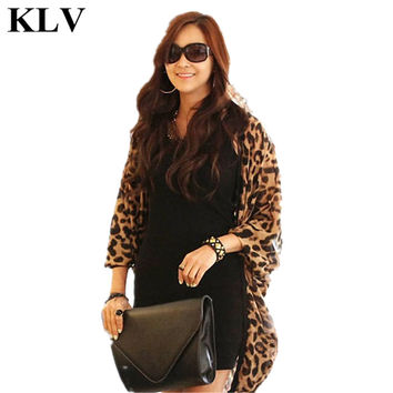 Sexy Leopard Print Batwing Sleeve Cape Kimono Shirt Tunic Chiffon Cardigan Lady Fashion Fall Tops Shawl Cover Up Aug3