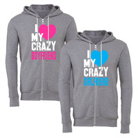 i heart my crazy gf bf matching couple zipper hoodie