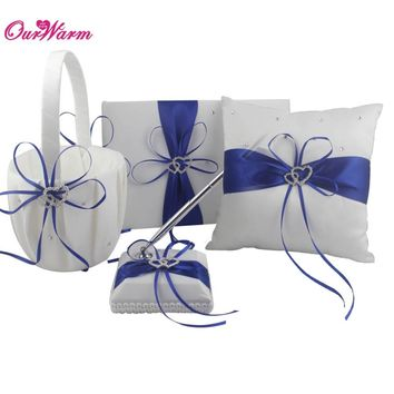 4Pcs/lot Romantic Wedding Decoration Rhinestone Stain Ribbon Wedding Ring Pillow+ Flower Basket +Guest Book + Pen Sets 8Colors