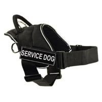 DT Fun Works Harness, Service Dog, Black With Reflective Trim, Small - Fits Girth Size: 22-Inch to 27-Inch