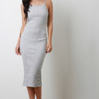 Women's Vertical Ribbed Knit Midi Dress