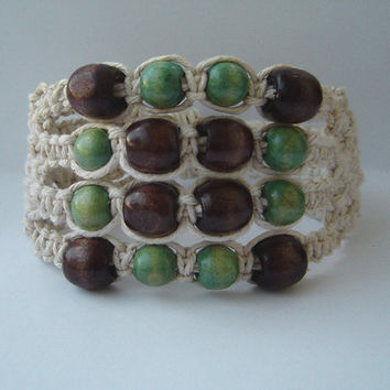 Macrame bracelet  beaded bracelet  earth colours by BMaja on Etsy