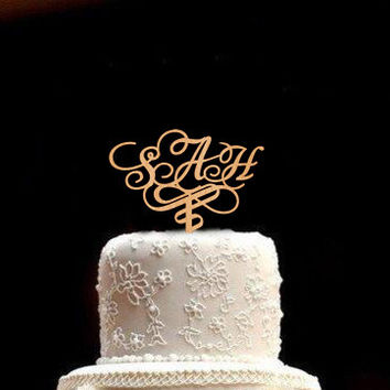 Monogram Cake Toppers Custom Cake Toppers Custom Wedding Cake Topper Wood Personalized Wedding Cake Topper Rustic Wedding Cake Topper