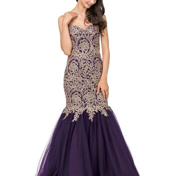 Strapless mermaid prom dress with gold embroidery DQ9932