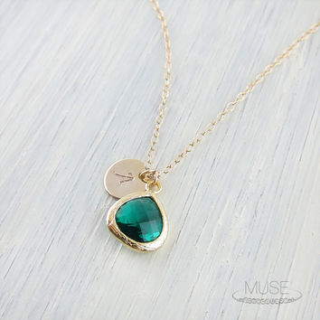 Emerald Drop Necklace with Custom Initial Disc - Bezel Pendant Necklace, Dainty Gold Necklace, Personalized Bridesmaid Gift