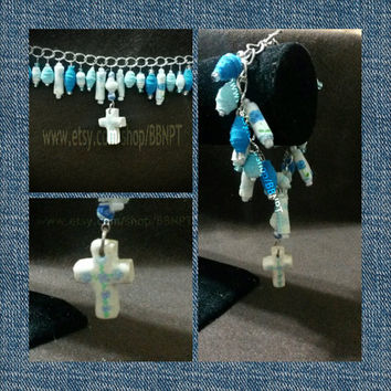 Blue and White Cross Charm Bracelet (rolled cloth beads, hand painted cross, aqua, teal, polymer clay, cascade)