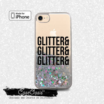 Glitter and Glitter and Glitter Quote Black Liquid Glitter Sparkle Case iPhone 6 and 6s iPhone 6 Plus and 6s Plus iPhone 7 and iPhone 7 Plus