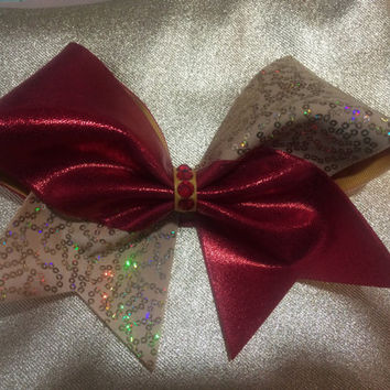 Christmas Holiday Red and Gold Sequin Cheer Bow Swarovski Crystal Bow