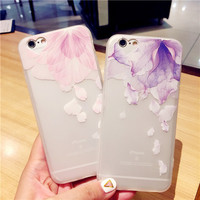 Exquisite fashion flower transparent soft silicone mobile phone case for iphone 6 6s 6plus 6s plus + Nice gift box!