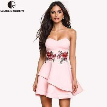 Sexy Club Velvet Summer Dresses Floral Dress Strapless Embroidered Rose Backless Dress