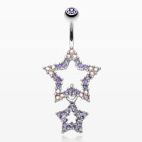 Glistening Double Star Belly Button Ring