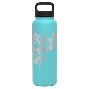 Premium Hibiscus Water Bottle, Extra Lid, Wide Mouth, Stainless Steel, Vacuum Insulated, Double Walled, Hot and Cold, 40 Ounce (Caribbean Teal)