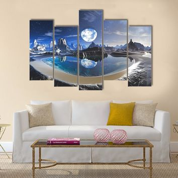 Reflection Of Earth In Crystal Pool Multi Panel Canvas Wall Art