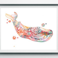 Whale Watercolor Print Whale poster sperm whale illustration ocean life Sealife print Marine nautical art zentangle whale [N348]