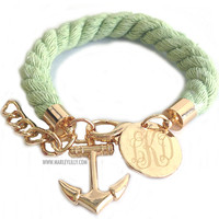 Monogrammed Rustic Rope Bracelet with Anchor Charm | Marley Lilly