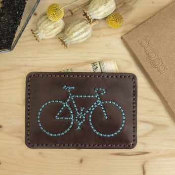 Bicycle Leather Slim Wallet,Unisex Leather Card Holder,Unisex Leather Wallet,Hand Stiched Leather Wallet,