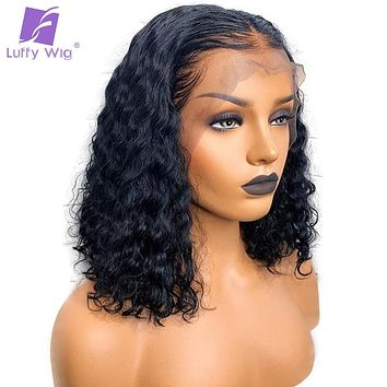 Short Curly Lace Frontal Human Hair 13x6 Lace Front Wigs With Baby Hair