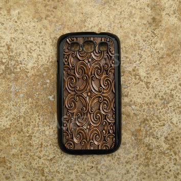 Samsung Galaxy S3 Case - Custom Galaxy S3 Covers - Carved Wood Design - Best Top phone Accessories for Samsung S iii - Hard Protective Case
