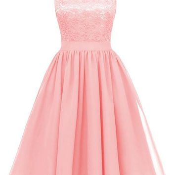 Pink Patchwork Lace Pleated V-neck Backless Chiffon Midi Dress