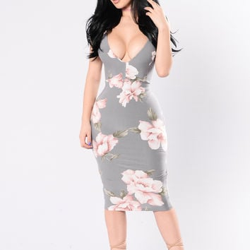 Passion Flower Dress - Grey