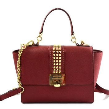 ONETOW Michael Kors Tina Medium Saffiano Leather Studded Sachel Crossbody Bag Purse Handbag, Cherry