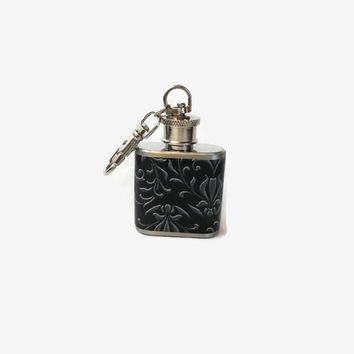 Stainless Steel Hip Flask with grey and black damask wrap - 4oz 6oz 2oz 1oz