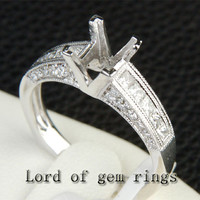 Diamond Engagement Semi Mount Ring 14K White Gold Setting Princess 5x5mm