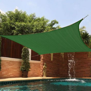 New Premium Clevr Sun Shade Canopy Sail 13'X10' Rectangle UV Outdoor Patio Green