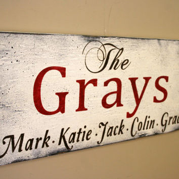 Personalized Name Sign Custom Name Sign Last Name Sign Housewarming Gift Family Name Sign Distressed Wood Wall Sign Red Black White Decor