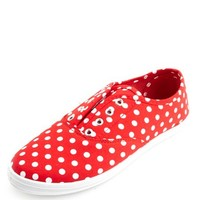 POLKA DOT LACELESS CANVAS SNEAKERS