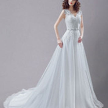 Embroidered Sash Lace Wedding Gown