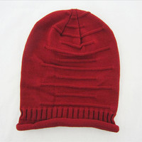 2015 Autumn  winter fashion tide models fold hip-hop hedging knitted wool hat for men women