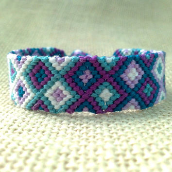 Friendship Bracelet-Purple, Teal and White Diamond Pattern