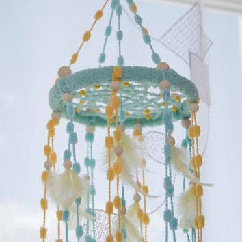 Mini Bаbу Mobile Dream Catcher Nursery Mini Decor Aquamarine Mobile Yellow Mobile Nursery Boho Dream Catcher Dreamcatchers Baby Girl Boy