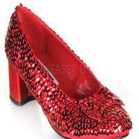 Red Sequin Bow Dorothy Heels